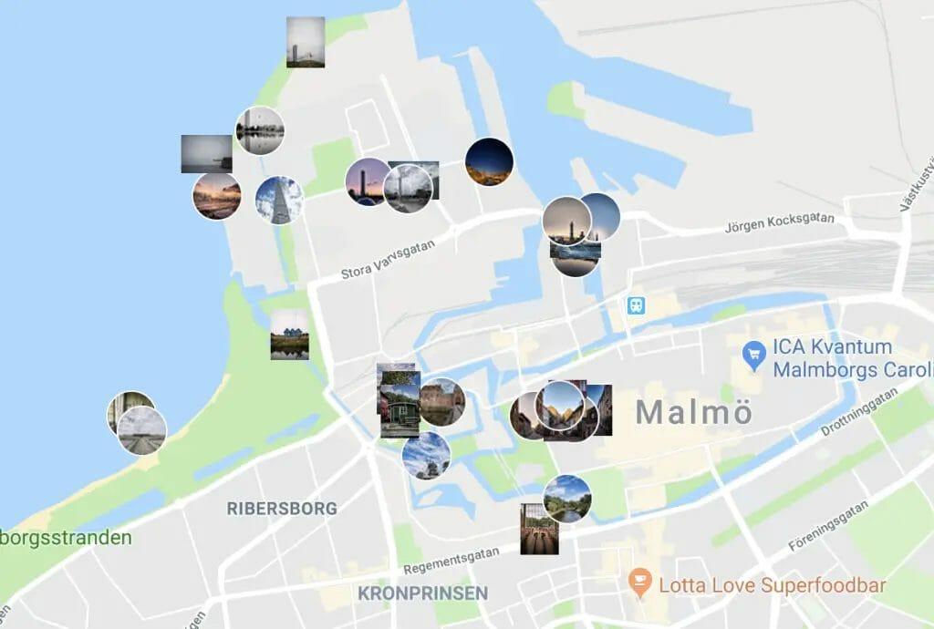 Malmö Instagram Spots - Fotokarte