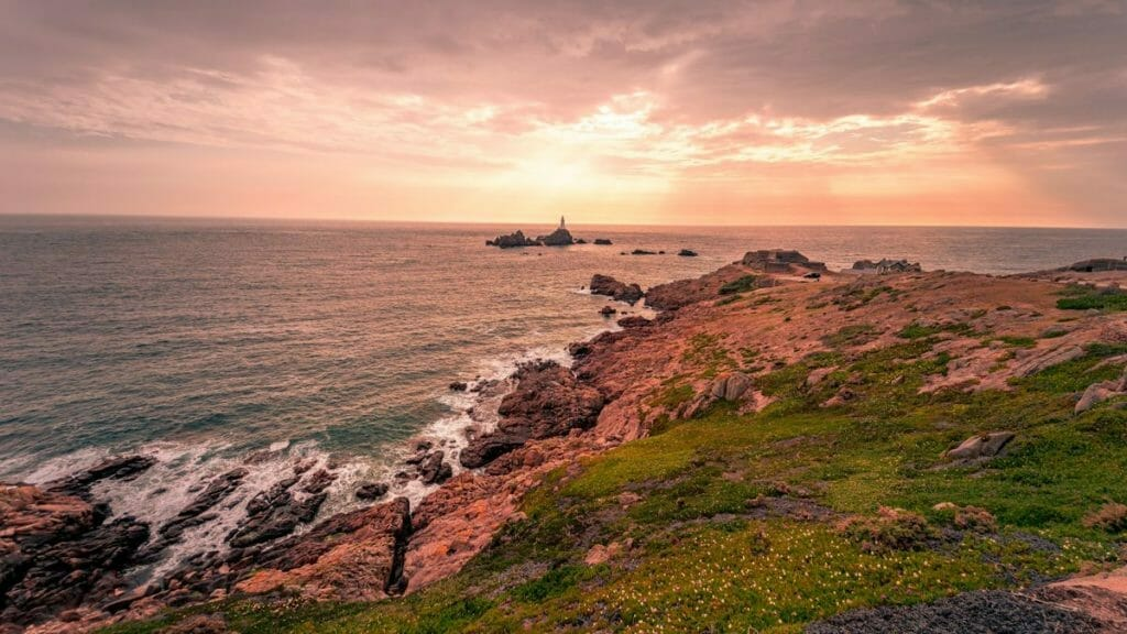 Jersey Kanalinseln - Sonnenuntergang über dem Meer